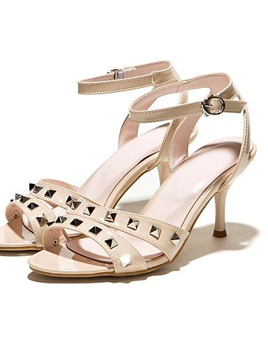 LFNLYX Scarpe Donna-Sandali-Formale / Serata e festa-Tacchi / Con cinghia / Aperta-A stiletto-Finta pelle-Rosa / Argento / Tessuto almond almond