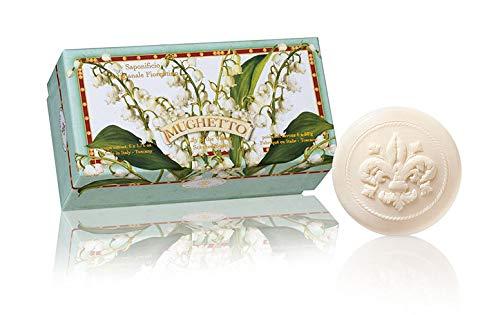 Mughetto sapone, Confezione regalo da 6 saponette ospite, lavorazione artigianale, scolpite con giglio fiorentino, 6 x 50 g