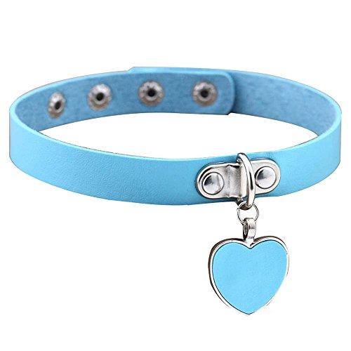 Jiacheng29 Punk Gothic Damen Armband mit Herz Anhänger Choker Halsband Halskette, Kunstleder, hellblau, Einheitsgröße