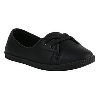 Klassische Damen Ballerinas Sportliche Stoff Slipper Flats Sneakers Slip-Ons Viele Farben Schuhe 138950 Schwarz Glatt 37 Flandell