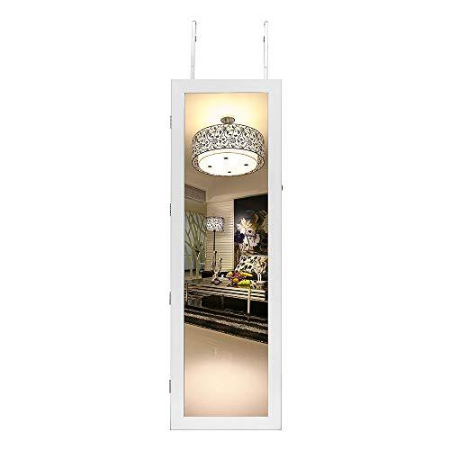 DlandHome Schmuckschrank mit LED Beleuchtung, Hängend Schmuckregal mit Spiegel Türmontage/Wandmontage Höhenverstellbarkeit abschließbar Schmuckkasten, Weiß