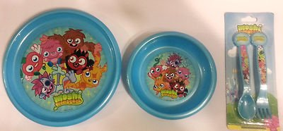 Moshi Monsters 3�Piece Mealtime Set piatto, ciotola, cucchiaio e forchetta per neonati, bambini, nu