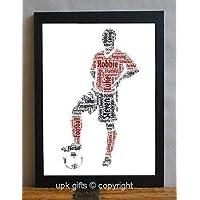 UPK Gifts Personalised Football Player Keepsake Print Gift Word Art with FRAME Football Footballer Daddy Dad Mummy Mum Best Friend Friends Birthday Team Daughter Son Family