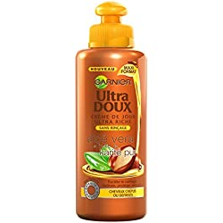 Garnier Ultra Doux Aloé Vera et Huile de Karité Pur Crème de soin sans rinçage Cheveux Très Secs ou Frisés