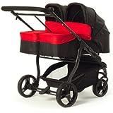 Baby Monsters Silla gemelar EASY TWIN 2.0 + 2 capazos color rojo