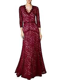 Miusol Elegante Dame 3/4 Armel mit Spitzen V-Ausschnitt Maxi Heimkehrkleid Brautkleid Festkleid Cocktail Abendkleid Slim Fit Gr. 36-46