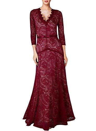 Miusol Elegante Dame 3/4 Aermel mit Spitzen V-Ausschnitt Maxi Heimkehrkleid Brautkleid Festkleid...