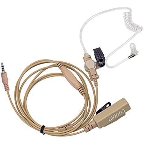 Beige Coodio 3,5mm Cuffia 2-Pin Pro Microfono con Auricolare [Tubo Acustico] Headset la Sicurezza e (Tactical Air Controllo)