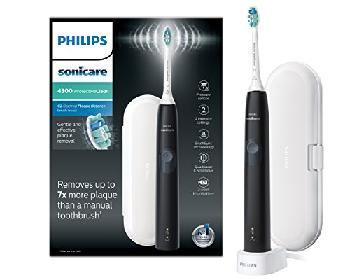 Philips Sonicare ProtectiveClean 4300 Electric Toothbrush with Travel Case – Black (UK 2-pin Bathroom Plug) – HX6800/03