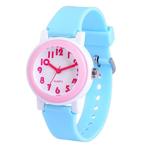 81ae846630cf WOLFTEETH Analog Grade Escuela Chicas Niños Reloj con Segunda Mano Cute  Pequeño Rostro Blanco Dial Resistente