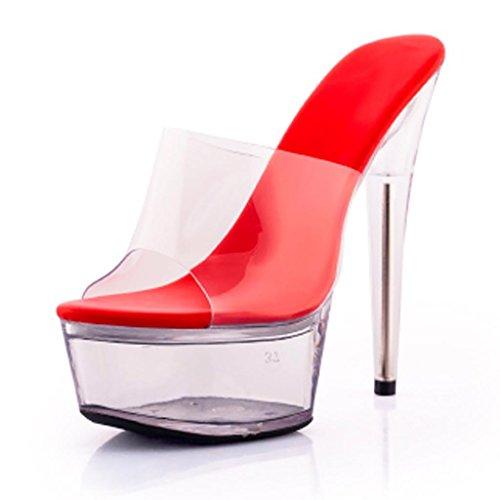 W&LMTrasparente Scarpe di cristallo sandali Piattaforma impermeabile Spessore inferiore sandali Tacchi alti Pantofole da portare all'aperto Posto di lavoro Sala da ballo Red
