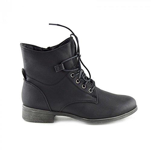 Kick Footwear - Delle Donne Delle Signore Di Combattimento Militare DellEsercito Lavoratore Pizzo Piatto Biker Zip Stivaletti Nero