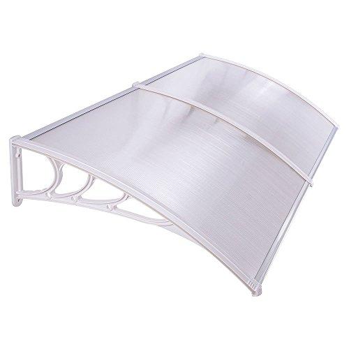 Hengmei 90x200cm pensilina tettoia in policarbonato tenda da veranda cappottina per porta o finestra, cornice bianca