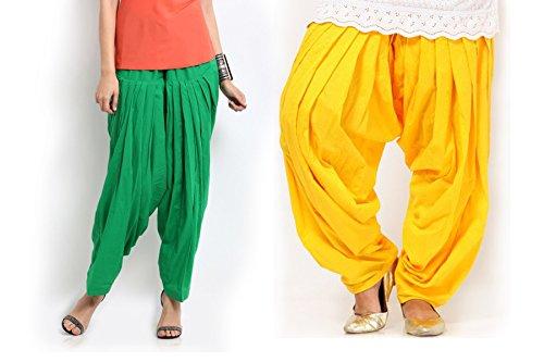 Pistaas Combo Pak Green & Yellow Patiala Salwar