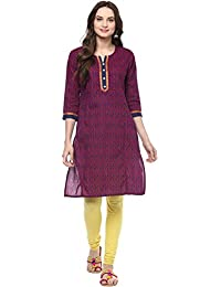 Jaipur Kurti Pink Colour Printed Women's Cotton Kurti