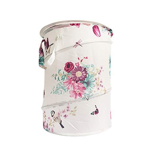 KKY-ENTER Panier à linge portatif rond Polyester pliable corbeille sale vêtements variés panier de rangement blanc, 36 * 50 cm Coffre à Linge