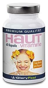 Reine Haut Vitamine mit Biotin Hochdosiert | Vitamin A, B, C und E + Biotin, Zink, Lycopin und Pantothensäure | 60 Vegane Kapseln