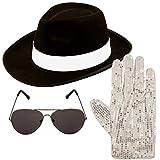 Michael Jackson style 3pc Set Hat Glove Aviator Shades 1980s Fancy Dress (BLACK)