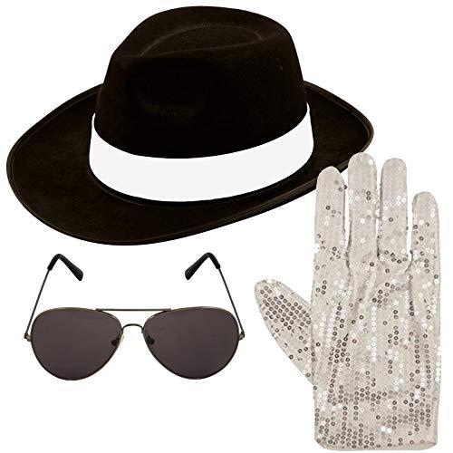 Jackson Michael Kostüm Zubehör - Unbekannt Michael Jackson Style 3 tlg Satz Hut Aviator Sonnenbrille 1980s Jahre Kostüm (schwarz)