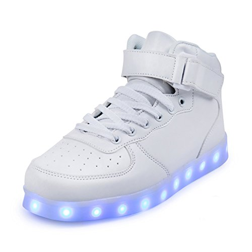 FLARUT LED Schuhe High Top Light Up Sneakers USB Aufladung Blinkende Schuhe Mit Fernbedienung Für Frauen Männer Kinder Jungen Mädchen(Weiß,32 EU)