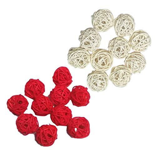 festival de f/ête de No/ël D/écoration /à suspendre Ya Jin Lot de 10 boules en rotin Osier Naturel mariage 10pcs//8cm Rotin