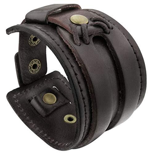 MunkiMix Alliage Genuine Leather Véritable Bracelet Bracelet Menotte Brun Homme