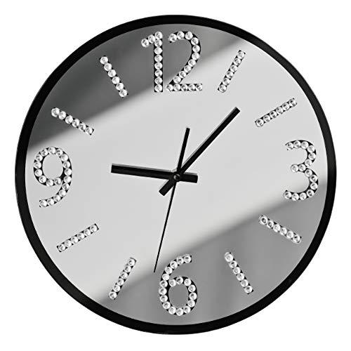 Premier Housewares Schwarzer Spiegel mit Diamantes Wanduhr, Glas, Silber, 4x35x35