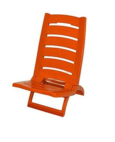 Vetrineinrete® spiaggina da mare bassa sedia pieghevole richiudibile portatile da spiaggia piscina campeggio in plastica 60 x 37 cm (arancione) x