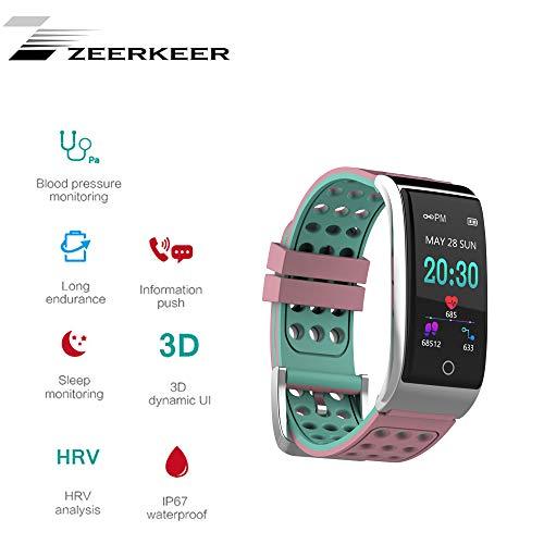 Smartwatch,ZEERKEER Fitnessaufzeichnung Farbbildschirm EKG-Armband, zweifarbige Aufkleber ohne Sinnband, Metallaussehen Medizinische Elektroden, Familie, die Echtzeitdaten teilt Damen Herr (Rosa&Grün)