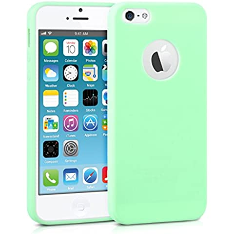 kwmobile Funda de TPU silicona chic para el Apple iPhone SE / 5 / 5S en menta mate