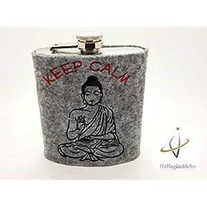 Edelstahl-Flachmann 200 ml, Keep calm, Buddha, Schnapsflasche, Frauen-Flachmann, Yoga, Entspannung