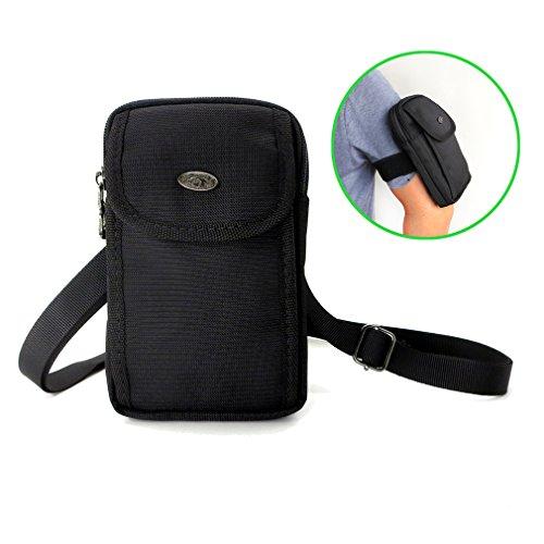 weck Handy Geldbörse Klein Taille Tasche Gürtelclip Loop Mini Crossbody Tasche für iPhone 7Plus iPhone 8Plus Galaxy S8Plus S9Plus S7Edge Plus, Schwarz ()