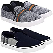 Super Men's Multicolour Canvas Loafer and Moccasins Shoes (8) -Combo Pack