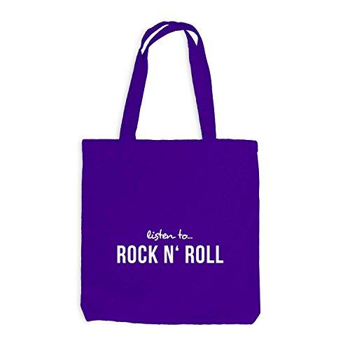 Jutebeutel - Listen To Rock N' Rock - Music Fan Musik Violett