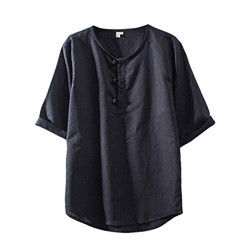 KPILP Herren T Shirts Tops Lose Sommer Bluse Mode Baumwolle Leinen Einfarbig Kurzarm Retro Tuniken Oberteile(Schwarz,EU-50/CN-M)
