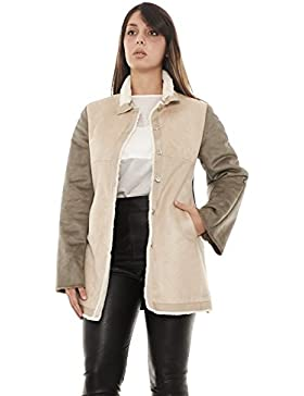 Armani Jeans 6Y5K12 5NAZZ cappotto donna in eco montone made in Italy (42, BEIGE)