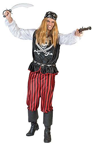 Pirat Bill Kostüm für Herren Gr. 56 58 - Tolles Piraten Seeräuber Kostüm für Erwachsene zu Karneval und Mottoparty