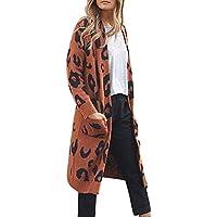 Mujeres Tops Rovinci Las Mujeres cómodas Ocasionales de Moda Abrigo sólido de Invierno cálido señoras de Punto Estampado de Leopardo de Manga Larga Chaqueta de Punto suéter Escudo S-XL