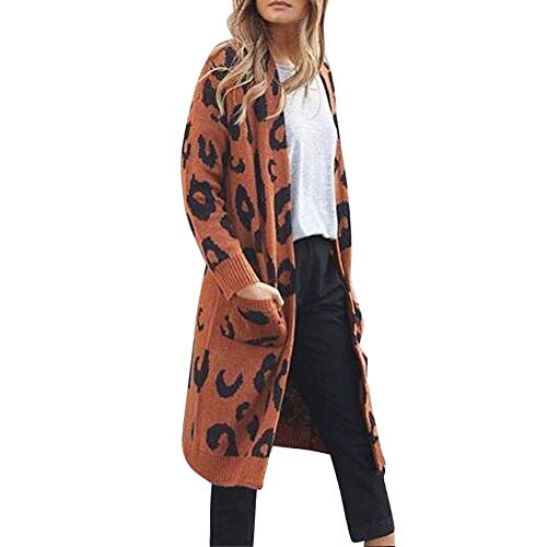CUTUDE Cardigan Damen, Gestrickt Leopard Drucken Mantel Herbst Winter Jacke Coat Jacken (Coffee, M)