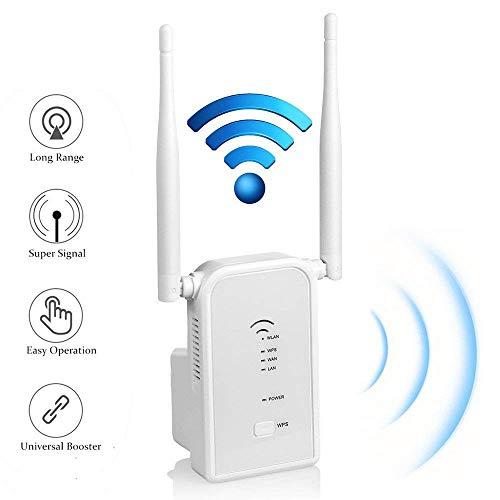Flybiz WLAN Repeater Router Signalverstärker (300 Mbit/s, 2.4GHz, LAN/WAN Fast Port, WPSFunktion, kompatibel mit Allen WLAN Geräten, Geeignet für Deutschland)