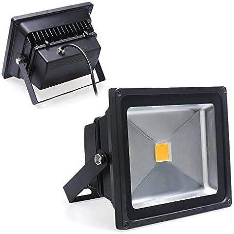 Auralum® Alta Calidad 2 Años De Garantía 20W Proyector Led Proyector De Exterior 1700Lumen 230V Ip65 3000K Blanco Caliente Con Marco Negro