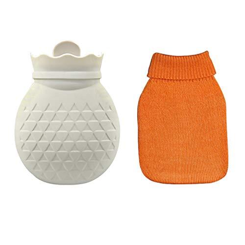 Winter Strick Wärmflasche Kinder Erwachsene mit Bezug Klein, Sasairy Explosionsgeschützte Weich Silikon Wärmflasche Abnehmbare Heat/Kältetherapie Wasserbeutel - 289ML(Rosa/Grau/ Blau/weiß)