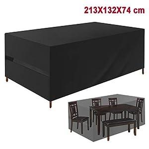 Favoto Gartenmöbel Abdeckung Gartentisch Schutzhülle für Tisch Stühle 213x132x74cm Outdoor Wasserdicht 420D Oxford Gewebe Rechteckig Schwarz