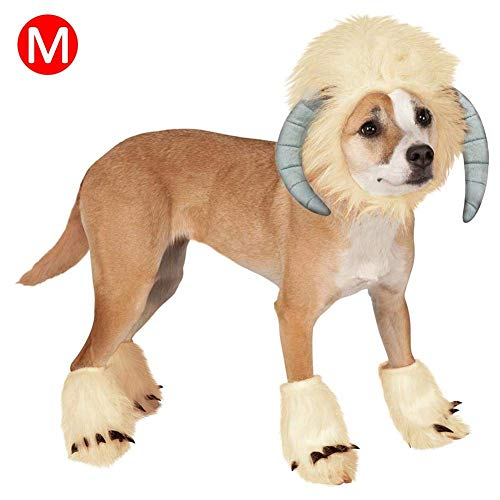 H-ONG Pet Costume Dog Cosplay Dress Funny Sheep Headgear Costume with Foot Covers Pet Halloween Christmas Cosplay Outfit Clothes for Dog Cat (M) (H M-halloween-outfits Und)