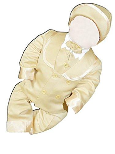 7 teiliger Kinderanzug Taufanzug mit Jacket, Hemd, Hose, bestickter Weste, Fliege und Mütze, L28 Gr. 80/86