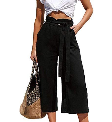 Dehots Damen Hosen Lang Weites Bein Sommerhose Freizeithose mit Taschen Sommer Hose mit Taschen und Gürtel, Schwarz, EU 38 ( Label L)