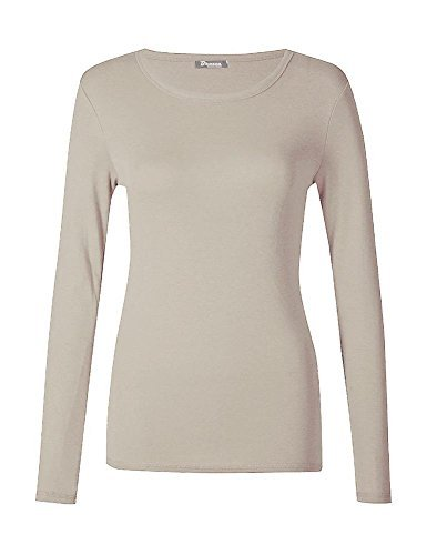 haute for DIVA NEUF pour dames femmes uni col rond manches longues haut t-shirt UK 8-24 Beige