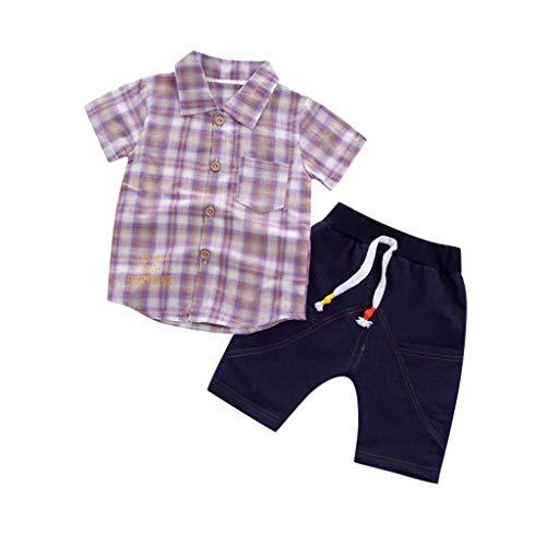 JUTOO Kleinkind Baby Boy Gentleman Plaid Kurzarmhemd + Denim Shorts Sets Kleidung ()