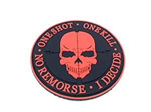 One Shot One Kill No Remorse I Decide Sniper Rouge PVC Airsoft Patch