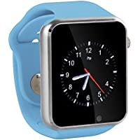GENORTH orologio sportivo, Sport Bluetooth Smartwatch orologio da polso Sim Watch Phone con pedometro anti-perso fotocamera chiamare promemoria, completamente compatibile con Smartphone Android (Blu)